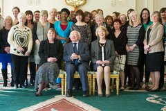President Michael D Higgins welcomes Women's Aid to the Aras to mark 40 years - President Michael D Higgins, his wife Sabina help staff, volunteers and board members of Women's Aid celebrate our 40 years anniversary last year.